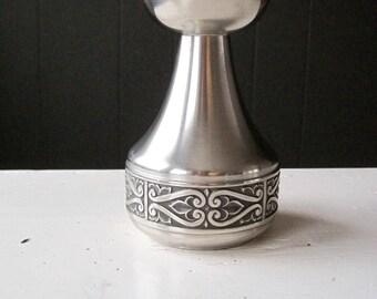 Vintage Norwegian Pewter Candleholder, Decorated Pewter, Norwegian Design, Scandinavian Style, Folk, Traditional