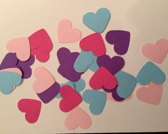Pink Blue Purple Table Hearts Punch Outs Card Making Scrap Booking