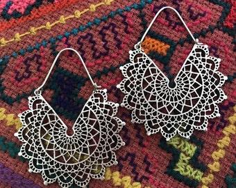 Silver Plated Lace Mandala Tribal Hook Hoop Earrings