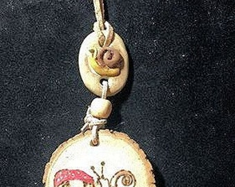 Handmade Mushroom Necklace, Rustic Folk Pendant,Snail Mushroom Pyrography Necklace,Woodburned Nature Pendant,Rustic One-of-a-kind