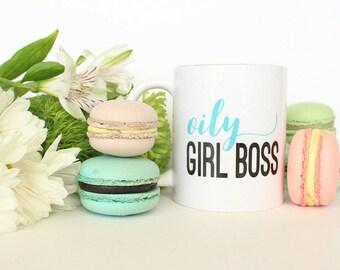 Oily girl boss mug, mugs, essential oils, funny mugs