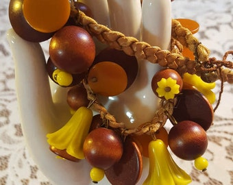 Funky Flower Bead & Cord Vintage Choker