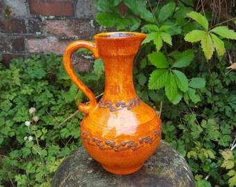 Walter Gerhards 285: Vintage West German Fat Lava Vase in Orange