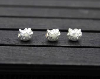 Sterling silver hello kitty bead, sterling silver hello kitty spacer bead, Cat beads, Kitty beads