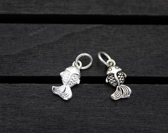 Sterling Silver Fish Charm Pendant,Sterling Silver Goldfish Charm Pendant,Fish Jewelry