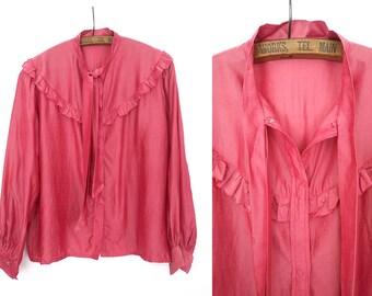 RESERVED >>>1940s silk blouse / La vie en Rose blouse / vintage 40s beautiful blouse