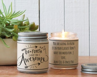 Go Forth and be Awesome Soy Candle Gift | Graduation Gift | New Endeavor Gift | Inspiration Gift | Send a gift | Personalized Gift