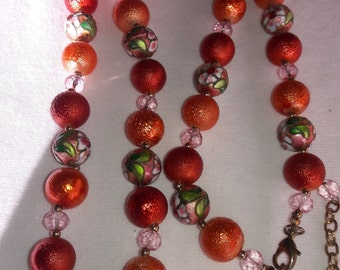 Cloisionne and Hand Painted Venetian Bead Vintage Necklace