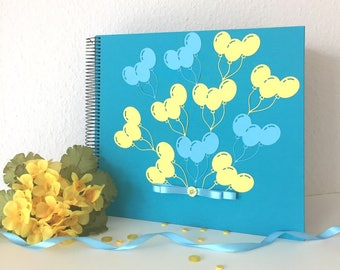 Baby Boy Photo Album, Baby Memory Book, Baby Shower Gift, New Baby Gift, Christening Gift, Scrapbook Album, Linen Cover Black page Blue