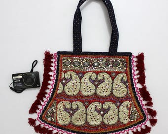 Handmade Ethnic Designer Tribal Banjara Patchwork Embroidered Hippy Fashionable Stylish Trendy Hippie Gypsy Boho Bohemian Fancy Bag G272
