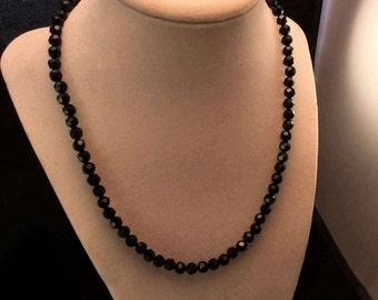 Sterling Silver black Crystal Necklace, Ladies Black Crystal Necklace,