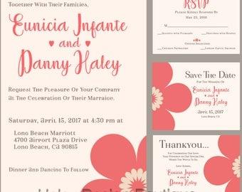Coral Flower Wedding Invitation