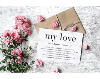 Personalized Greeting Card, My Love Valentine Card, Love Quote Card, Card for Him, Romantic Gift for Her, Birthday Anniversary GREETING CARD