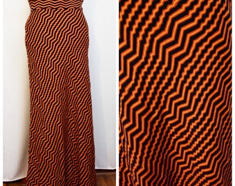 Angela Lanza for Jonathan Phillips Black/Orange/Yellow Zigzag 100% Wool Maxi Skirt