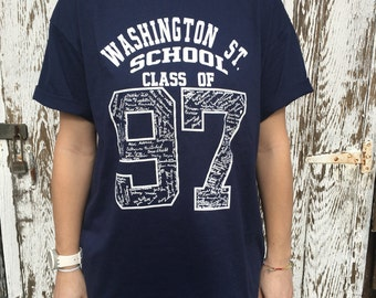 Vintage 90s Class of 97 Washington St. School Hanes Blue White Short Sleeve Graphic Tee Shirt - Large