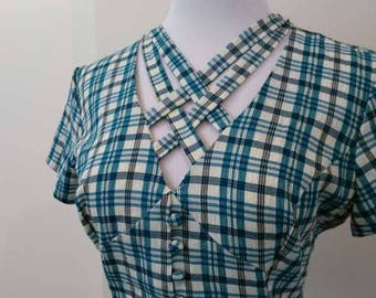 Blue Gingham Summer Dress - Size 12 14 - Vintage *Please see SHOP ANNOUNCEMENT*
