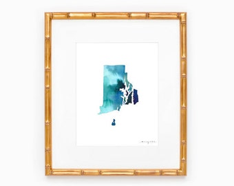 Rhode Island State Silhouette - Heart at Home - Made to Order - Rhode Island Art - Original Watercolor Painting - Hometown Art Print