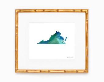 Virginia State Silhouette - Heart at Home - Made to Order - Virginia Art - Original Watercolor Painting - Hometown Art Print