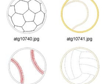 Applique Sports Balls  ( 8 Machine Embroidery Designs from ATW ) XYZ17B