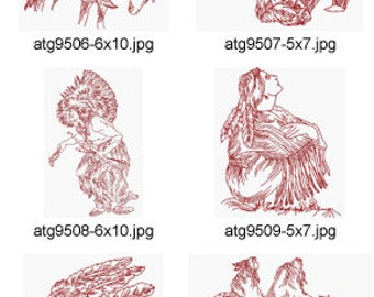 Native-American-Indian-Redwork ( 10 Machine Embroidery Designs from ATW ) XYZ17D
