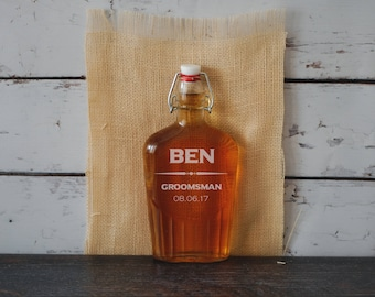Personalized Groomsman Flask, Flask Gift, Groomsmen Gift, Engraved Glass Flask, Will You Be My Groomsman, Wedding Flask Set, Custom Flask