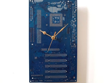 Wall Clock -  Dark Blue Recycled Computer Clock Geek Clock PC Gift Motherboard Clock Circuit Board Clock Silent Clock Office Art Clock