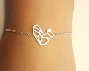 Squirrel bracelet, Squirrel jewelry, squirrel charm, silver squirrel, squirrel gift, squirrel pendant, forest bracelet, origami squirrels