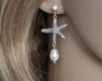 Handmade Crystal Rhinestone and Pearl Starfish Dangle Earrings, Destination or Beach Wedding, Bridal (Pearl-235)