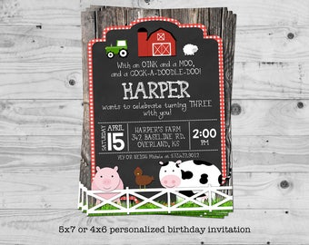 Farm birthday invitation - personalized with your child's name - digital / printable
