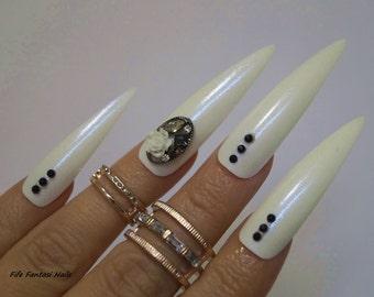 Extra Long stiletto Nails, Stiletto nails, Fake nail, Kylie jenner, Press on nails, Acrylic nails, Glue on nails, Mermaid nails, White Nails