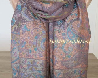 Paisley Light Brown Pashmina Scarf Cashmere Scarf Wool Beige Wrap Shawl Oversize Wedding Pashmina Shawl Bridesmaids Beige Bridal Pashmina