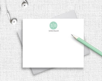 Monogram Note Card, Personalized Stationery, Personalized Stationary, Personalized Note Cards, Thank You Note Cards,  Custom Stationery MG16