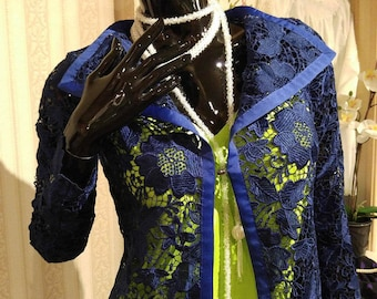 Navy Lace women's jacket with neon green camisole