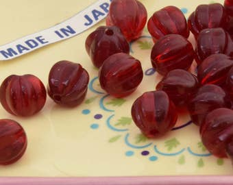 12 Ruby Red Melon Vintage Beads.  9mm Vintage Japanese Fluted Cranberry Glass Beads. Vintage Jewelry Supplies.  Vintage Beads for Jewelry.