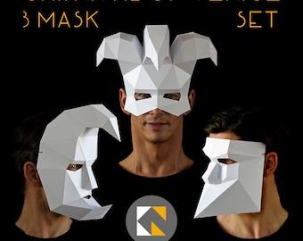 Carnival of Venice 3 Mask Set - Bauta | Crescent Moon | Jester - 3 PDF downloads