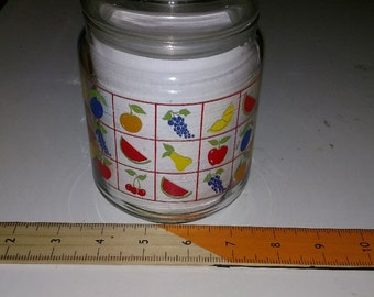 covered candy jar  Litho printed glass 1980s