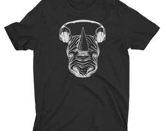 Rhino With Headphones T-Shirt - Rhino Shirt - Skating Shirt - Rhinoceros tee wearing headphones