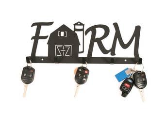 Farmhouse, Farmhouse Sign, Rustic Key Holder, Farm Key Hanger, Farmhouse Key Holder, Farm Decor, Farm Wall Sign, Decorative Wall Hooks