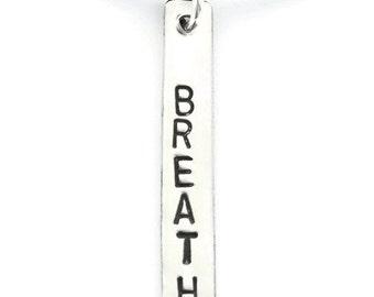 Breathe Charm, Breathe Necklace, Yoga Necklace, Yoga Gift, Breathe Pendant, Silver Breathe Charm, Zen Jewelry, Yoga Jewelry, Chakra Jewelry