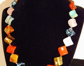 stone bead necklace 18 inch.