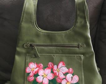 Apple Blossoms - Handpainted Vintage Handbag