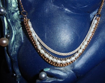 """Jewels""""Louise Hendricks""""/Years 90/Neck lace and bracelet/Pearls/Paris"""