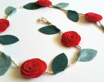 Felt Flower Garland, Felt Garland, Rose Garland, Wedding garland, Christmas Garland, Wedding Decor, Nursery Decor, 3 ft, 6 ft