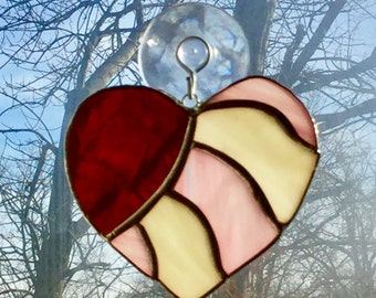 Stained Glass Valentine's Day Heart of Love Suncatcher By Sparkle Stained Glass