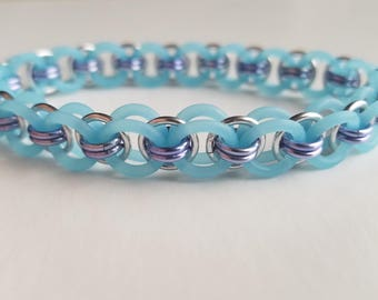 Blue, Lavender, and Silver Stretchy Bracelet