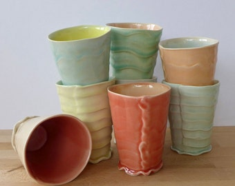 Hand Built Porcelain Tumbler With Celadon Glazes