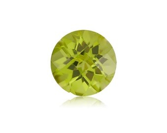 0.45-0.55 Cts of 5 mm AA Round Checkered Board Chinese Peridot ( 1 pc ) Loose Gemstone-393429