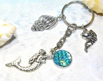Mermaid keyring, turquoise mermaid, mermaid key chain, mermaid bag charm, mermaid bag tag, fantasy keyring, little mermaid, kids bag charm