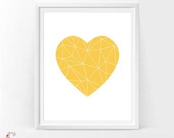 Heart sign, Geometric Printable, Geometric Art, Geometric Print, Geometric heart, Mustard, Yellow home decor, Yellow nursery printable
