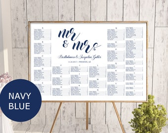 Navy Blue Wedding seating chart template, printable seating chart, alphabetical seating chart, editable seating plan, Mr and Mrs sign